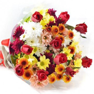 Bush Chrysanthemums & Rose